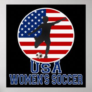 US Flag USA Women's Soccer Poster (large) Poster