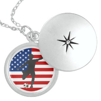 US Flag USA Women's Soccer Sterling Necklace