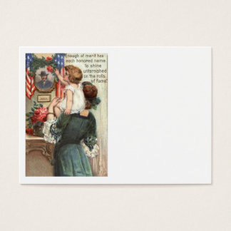 US Flag Victorian Mother Child Rose Wreath Business Card