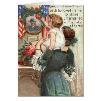 US Flag Victorian Mother Child Rose Wreath Card