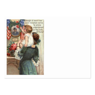 US Flag Victorian Mother Child Rose Wreath Large Business Card