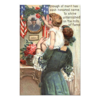 US Flag Victorian Mother Child Rose Wreath Photo Print