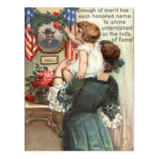 US Flag Victorian Mother Child Rose Wreath Postcard