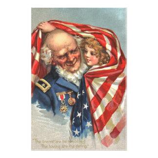 US Flag War Veteran Girl Photo Print