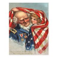 US Flag War Veteran Girl Postcard