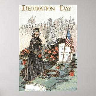 US Flag War Widow Tombstone Wreath Poster