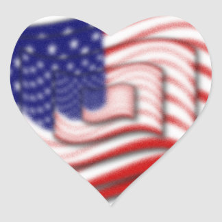 US Flag Wave Stacked Diffuse Heart Sticker