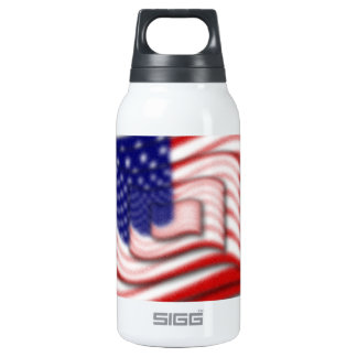 US Flag Wave Stacked Diffuse Insulated Water Bottle
