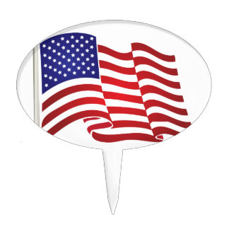 US Flag Waving Cake Toppers