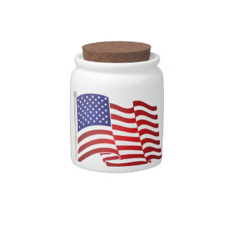 US Flag Waving Candy Dishes