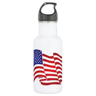US Flag Waving Stainless Steel Water Bottle