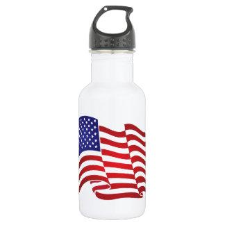 US Flag Waving Stainless Steel Water Bottle