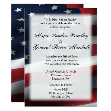 "USA Themed US Flag Wedding & Reception Invitations 5.5"" x 7.5"