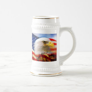 US FLAG WITH AMERICAN EAGLE BEER STEIN