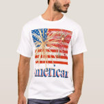 US Flag with Fireworks T-Shirt