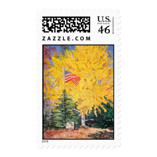 US Flag with Ginkgo Tree Postage