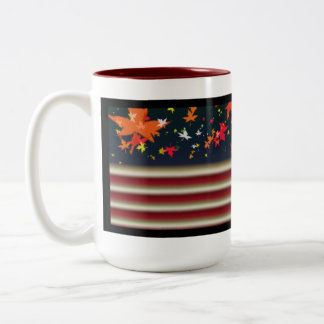 US Flag with-Leaves Two-Tone Coffee Mug
