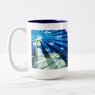 US Flag with-Statue of Liberty Two-Tone Coffee Mug