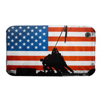 US Flag with Veterans Silhouettes iPhone 3 Case