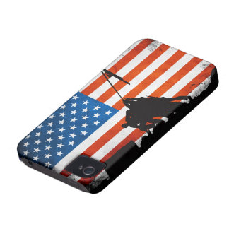 US Flag with Veterans Silhouettes iPhone 4 Case