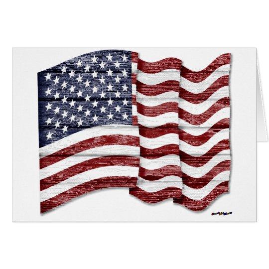 US Flag with wood grain Card