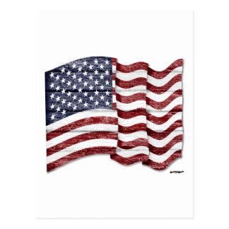 US Flag with wood grain Postcard