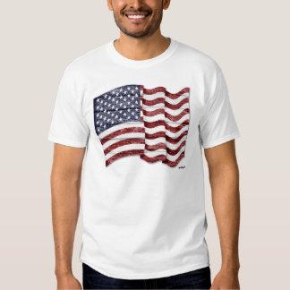 US Flag with wood grain Shirt