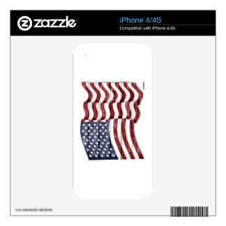 US Flag with wood grain Decal For The iPhone 4S