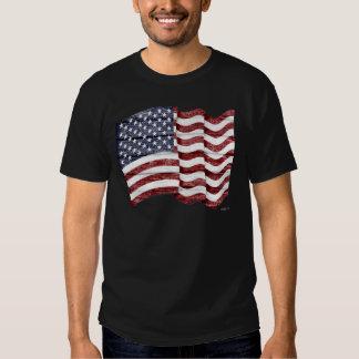 US Flag with wood grain T-shirt