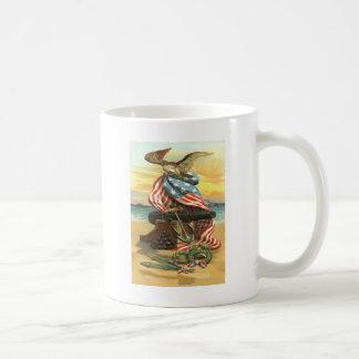 US Flag Wreath Beach Cannon Anchor Eagle Coffee Mug
