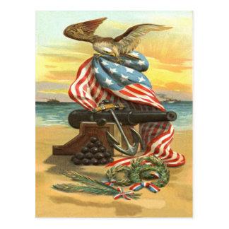 US Flag Wreath Beach Cannon Anchor Eagle Postcard