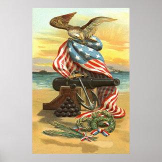 US Flag Wreath Beach Cannon Anchor Eagle Poster