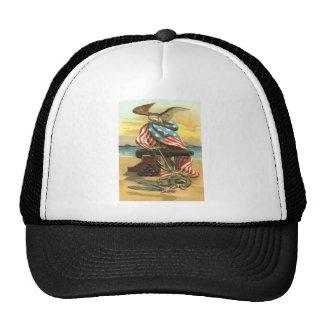 US Flag Wreath Beach Cannon Anchor Eagle Trucker Hat