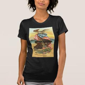US Flag Wreath Beach Cannon Anchor Eagle Tee Shirts