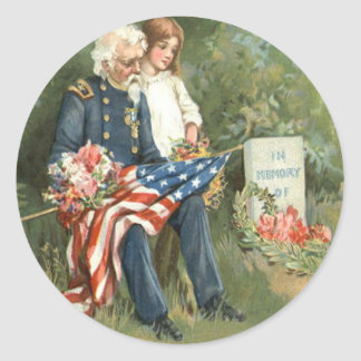 US Flag Wreath Cemetery Tombstone Flowers Classic Round Sticker