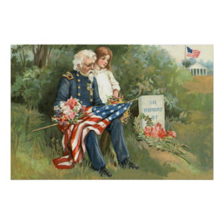 US Flag Wreath Cemetery Tombstone Flowers Poster