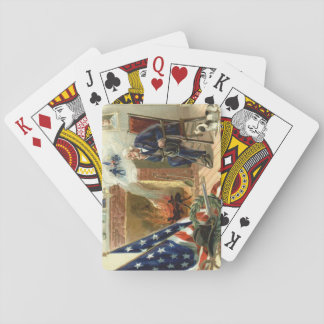 US Flag Wreath Dog Veteran Fireplace Playing Cards