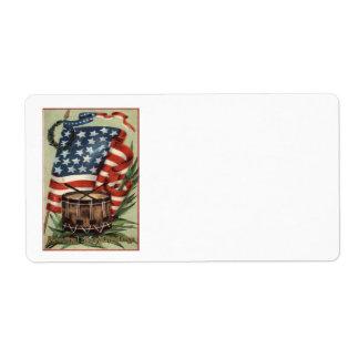 US Flag Wreath Drum Memorial Day Label