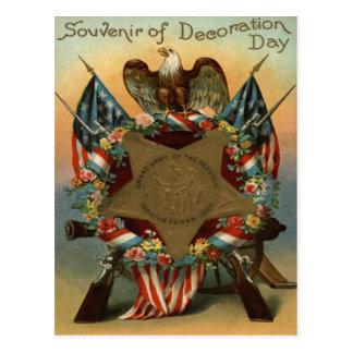US Flag Wreath Eagle Gun Flowers Postcard