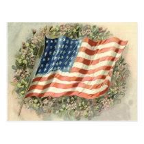 US Flag Wreath Flowers Memorial Day Postcard