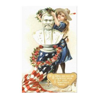 US Flag Wreath Girl Statue Rose Canvas Print