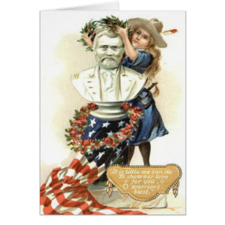 US Flag Wreath Girl Statue Rose Card