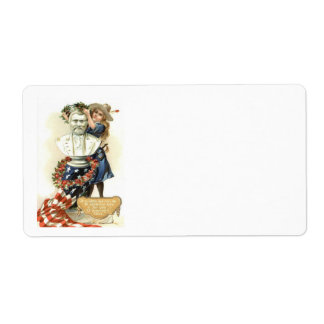 US Flag Wreath Girl Statue Rose Label