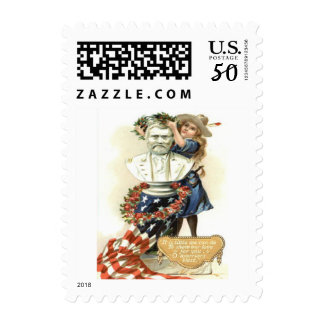US Flag Wreath Girl Statue Rose Postage