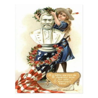 US Flag Wreath Girl Statue Rose Postcard