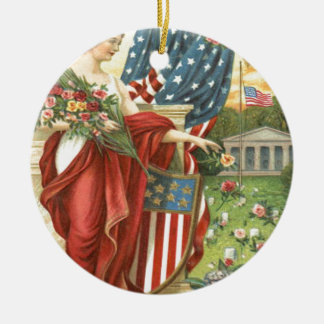 US Flag Wreath Lady Liberty Cemetery Ceramic Ornament