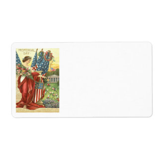 US Flag Wreath Lady Liberty Cemetery Label