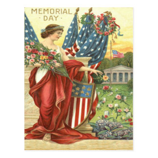 US Flag Wreath Lady Liberty Cemetery Postcard