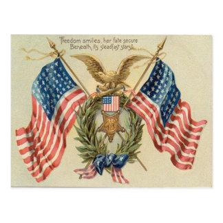 US Flag Wreath Medal Eagle Postcard