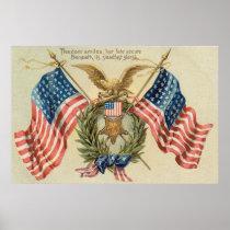 US Flag Wreath Medal Eagle Poster
